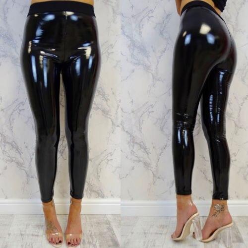 Womens Sexy Black Pants High Wait Slim Soft Strethcy Shiny Skinny Wet Look Faux Leather Leggings Pants Black