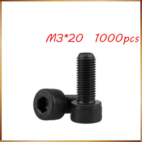 <font><b>m3</b></font> screws stainless nails,bolts <font><b>1000pcs</b></font> Black Screw <font><b>M3</b></font>*20mm Grade 8.8 Hex Socket Head Cap Screw Bolts Stainless Steel Screw image
