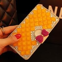 Luxury Women Girl Lady 3D Cute Rhinestone Diamond Flip Leather Wallet Case For Iphone Touch 4S