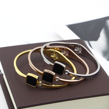 Free Shipping Black Square Gold Color / Silver Color / Rose Gold Color Stainless Steel Bangle цена 2017