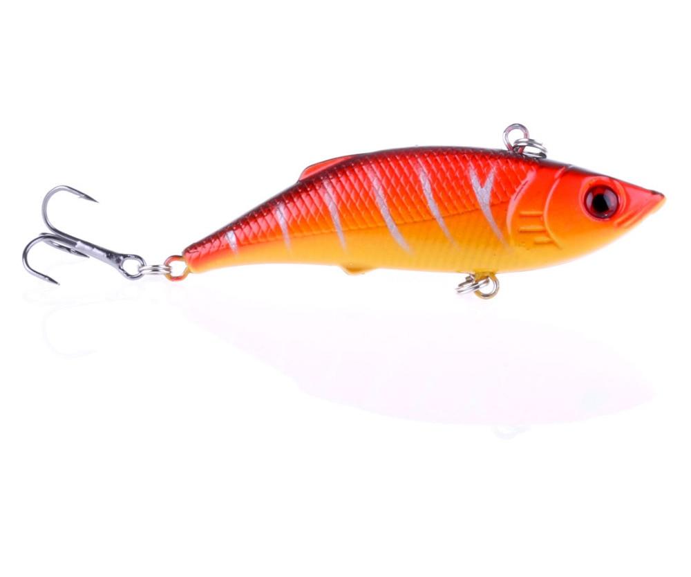 1Pcs Rattlin Vib Fishing Lure Hard Bait 7.5cm 10g Artificial Lures 6# Hooks Vibration Woofer 1 pcs trulinoya dw25 80mm 10g 4 segments sections vib hard fishing lure plastic fishing bait artificial lures