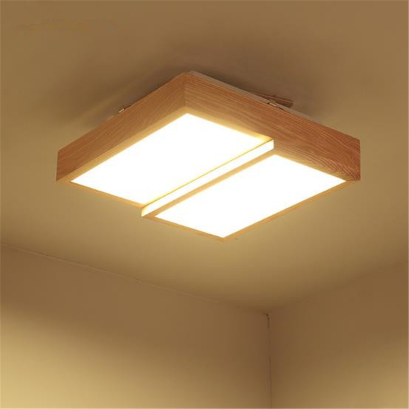 Japanese Solid Wood LED Living Room Ceiling Light Bedroom Lamp Geometric Kids Lights Free Shipping цена