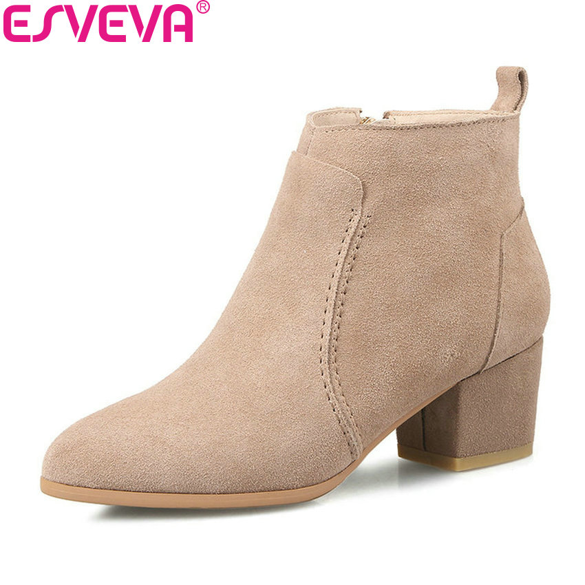 ESVEVA 2019 Women Boots Shoes Zipper Short Plush Ankle Boots Square High Heels Pointed Toe Classic Woman Boots Shoes Size 34-39 esveva 2018 women boots zippers black short plush pu lining pointed toe square high heels ankle boots ladies shoes size 34 39
