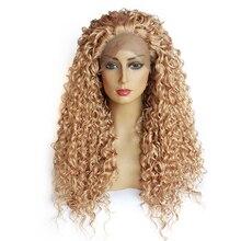 Средний синтетический парик фронта шнурка Afro Kinky Вьющиеся парик фронта шнурка высокотемпературны Лучший!
