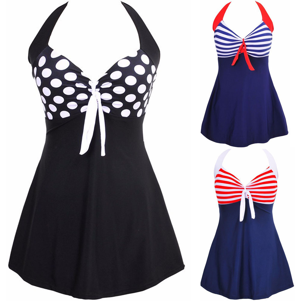 Newest Sexy Stripe Padded Halter <font><b>Skirt</b></font> Swimwear Women <font><b>One</b></font> <font><b>Piece</b></font> Swimsuit Beachwear <font><b>Bathing</b></font> <font><b>Suit</b></font> Swimwear Dress <font><b>Plus</b></font> <font><b>Size</b></font> M-4XL image