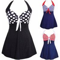 Fashion Sexy Stripe Padded Halter Skirt Swimwear Women One Piece Swimsuit Beachwear Bathing Suit Swimwear Dress