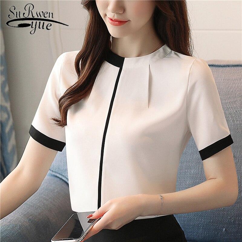 2018 summer chiffon women   blouse     shirt   short sleeve elegant ladies office women tops casual slim white women clothing 0215 40