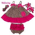 2016 Líder Vestidos da Cópia do Leopardo Do Bebê Da Menina de Verão Vestido de Arco-Nó Corpo Arreios Vestido E Cuecas Da Menina Recém-nascidos roupas Definir