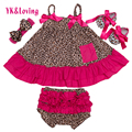 2016 Leader Vestidos Summer Baby Girl's Leopard Print Dress Bow-Knot Harnesses Dress And Briefs Body Newborn Girl Clothes Set