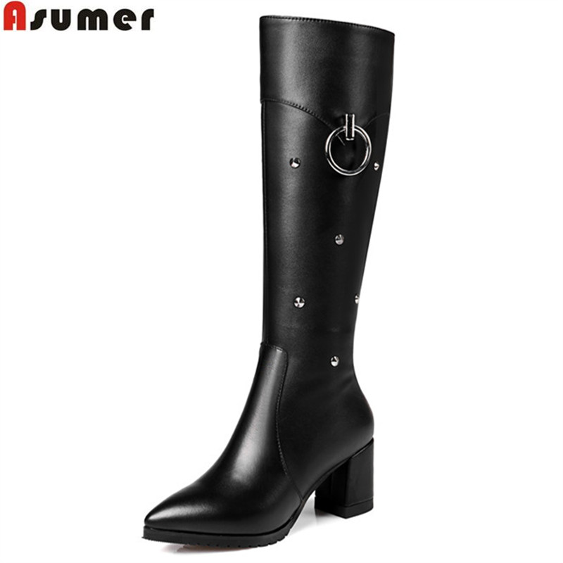ASUMER hot sale new arrive women boots black pointed toe high quality pu+genuine leather knee high boots rivet plus size 32-45