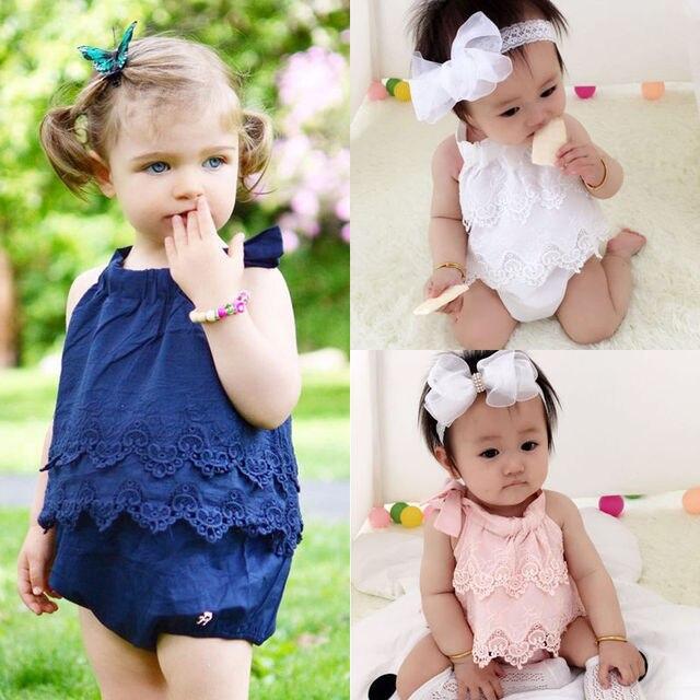Kid Mädchen Baby Strampler Sommer Lace Solide Straps Jumpsuit