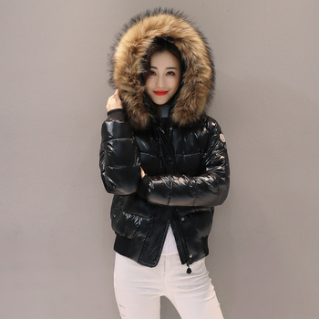 Winter jacket women Real fur coat new bright coat female short down feather padded thick wool collar jacket student jacket 2019
