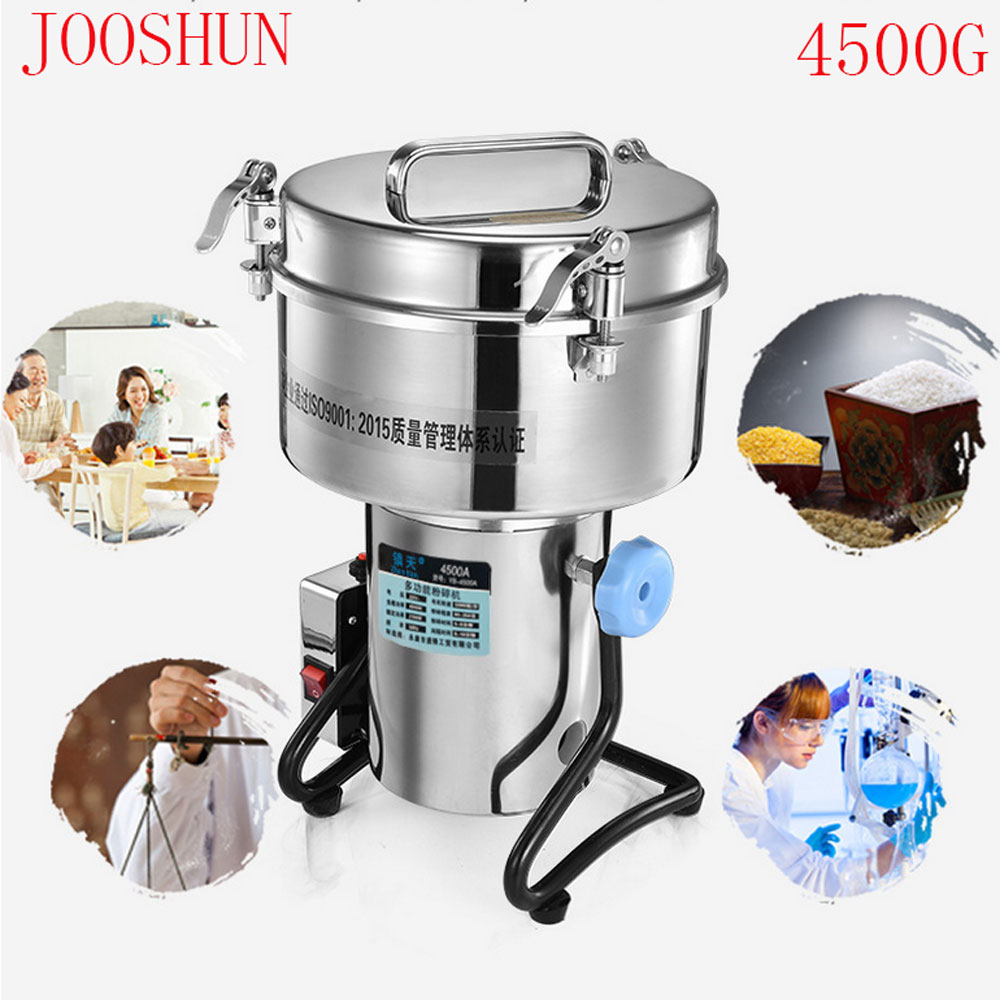 4500G Big Capacity Mill Multifunction Pulverizer Herb Processor Stainless Steel Electric Coffee Nut Spice Grinder 220V