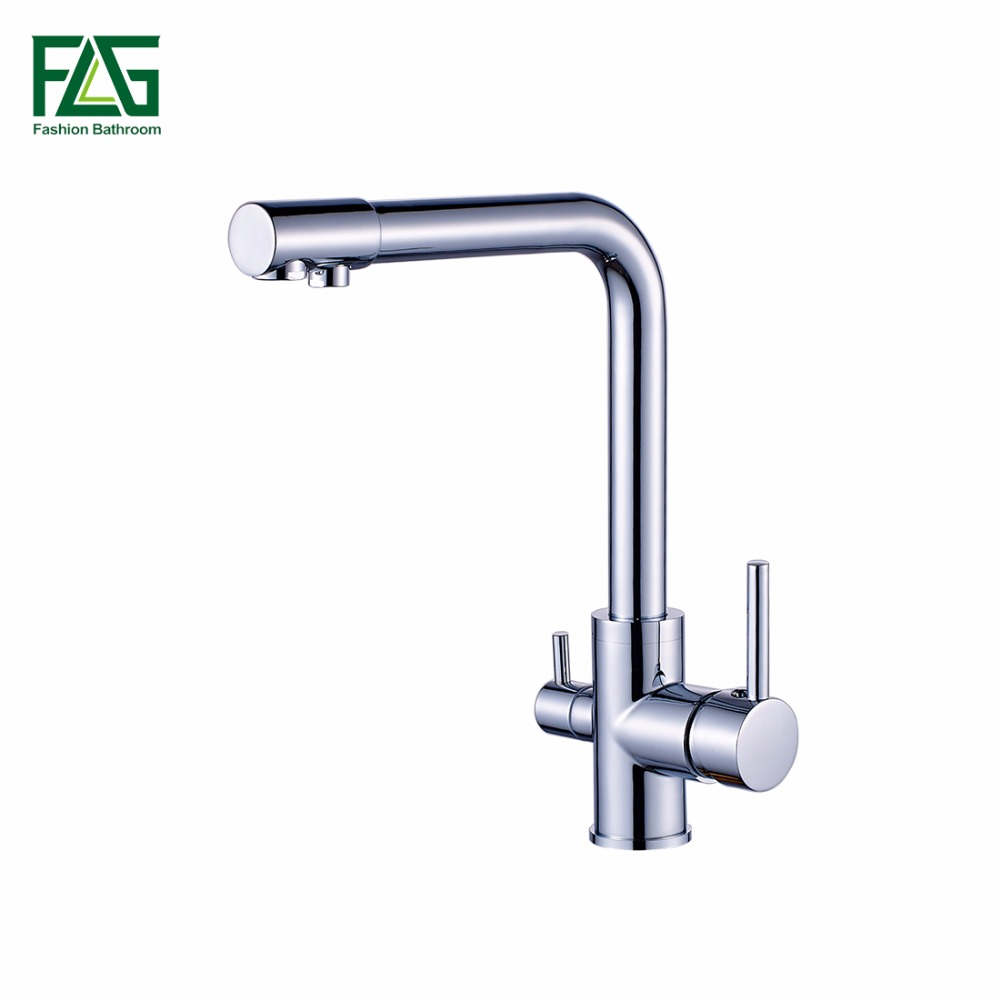 Kitchen Faucets Solid Brass Deck Mounted Mixer Tap 360 Degree Rotation with Water Purification Features Mixer Tap Crane