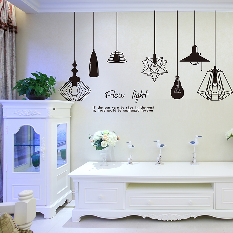 Aliexpresscom Buy Shine Light Bulb Wall Sticker Living Room