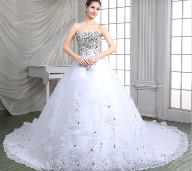 ee0238d05414 iLoveWedding White Chapel Train Wedding Dresses Ball Gown Rhinestone Beaded  Tulle Sweetheart Vestido De Noiva Bridal Dress 86115