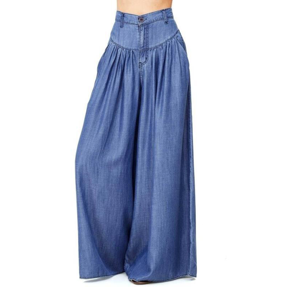 4XL High Waist   Wide     Leg     Pants   Loose Harajuku Long   Pants   Women Casual Pockets Pantalon 2018 Blue Black VintageTrousers Plus Size
