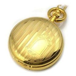 Golden Antique Skeleton Pocket Watch Mechanical Hand Wind Pocket & Fob Watch Women's Pocket Watch Pendant relogio de bolso Gift