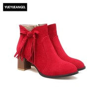 New Fashion Comfortable Women Shoes Side Zipper Tassel For Women Dress High Heel Block Faux Suede