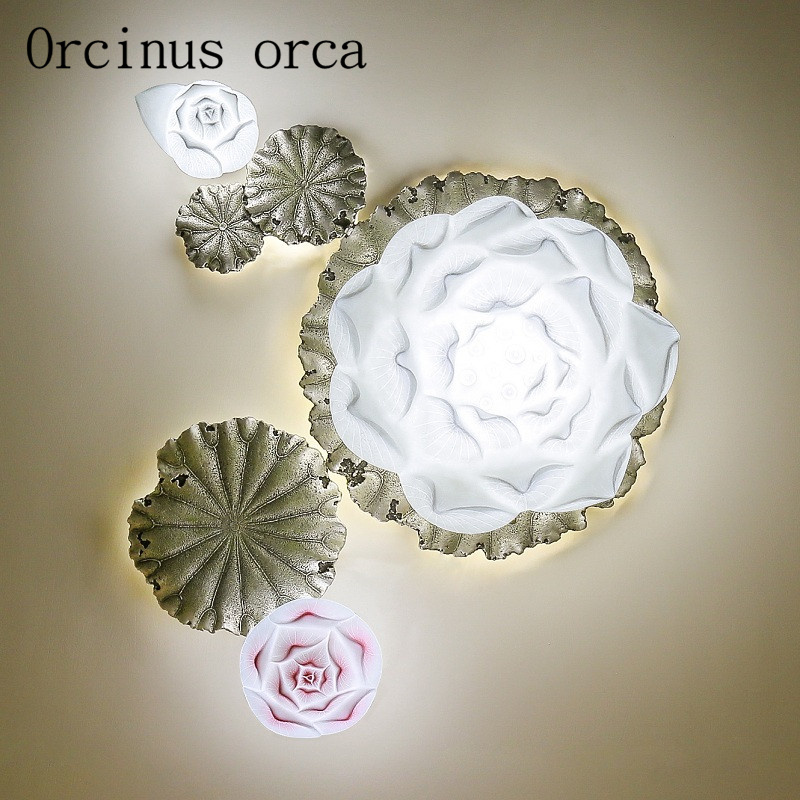 Modern Chinese lotus ceiling lamp living room bedroom balcony aisle restaurant LED decorative lotus ceiling lamp free shippingModern Chinese lotus ceiling lamp living room bedroom balcony aisle restaurant LED decorative lotus ceiling lamp free shipping