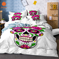3Pcs Cartoon Skull Red Rose Flowers Duvet Cover White Bedding Set Soft Quilt Cover Single Bed Cover Comfortable Queen size SJ132