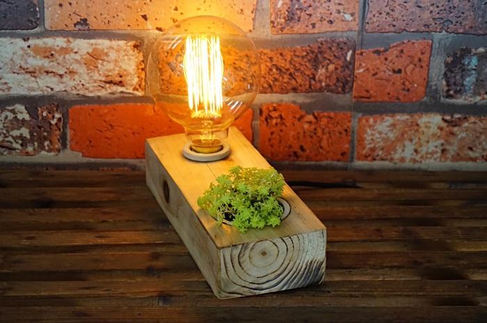 ФОТО Loft Potted Plant Industrial Table Light Edison Desk Wood Lamp Cafe Club