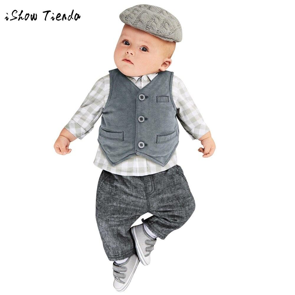 Для маленьких мальчиков Джентри комплект одежды официальная вечеринка костюм 3 шт. решетки Топы Корректирующие + Брюки для девочек + жилет к...