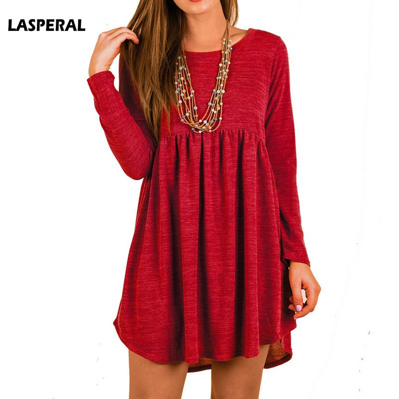 LASPERAL 2018 New Fashion Spring O Neck Casual Mini Dress Women Elegant Full Sleeve High Waist Knitted Sweater Dresses Vestidos
