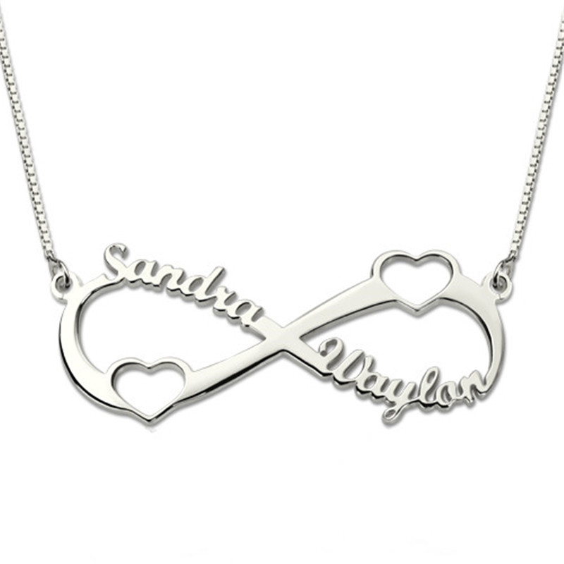 AILIN Personalized Double Heart Infinity Name Necklace Gold Color Fashion Jewelry Infinity Necklace for HerAILIN Personalized Double Heart Infinity Name Necklace Gold Color Fashion Jewelry Infinity Necklace for Her