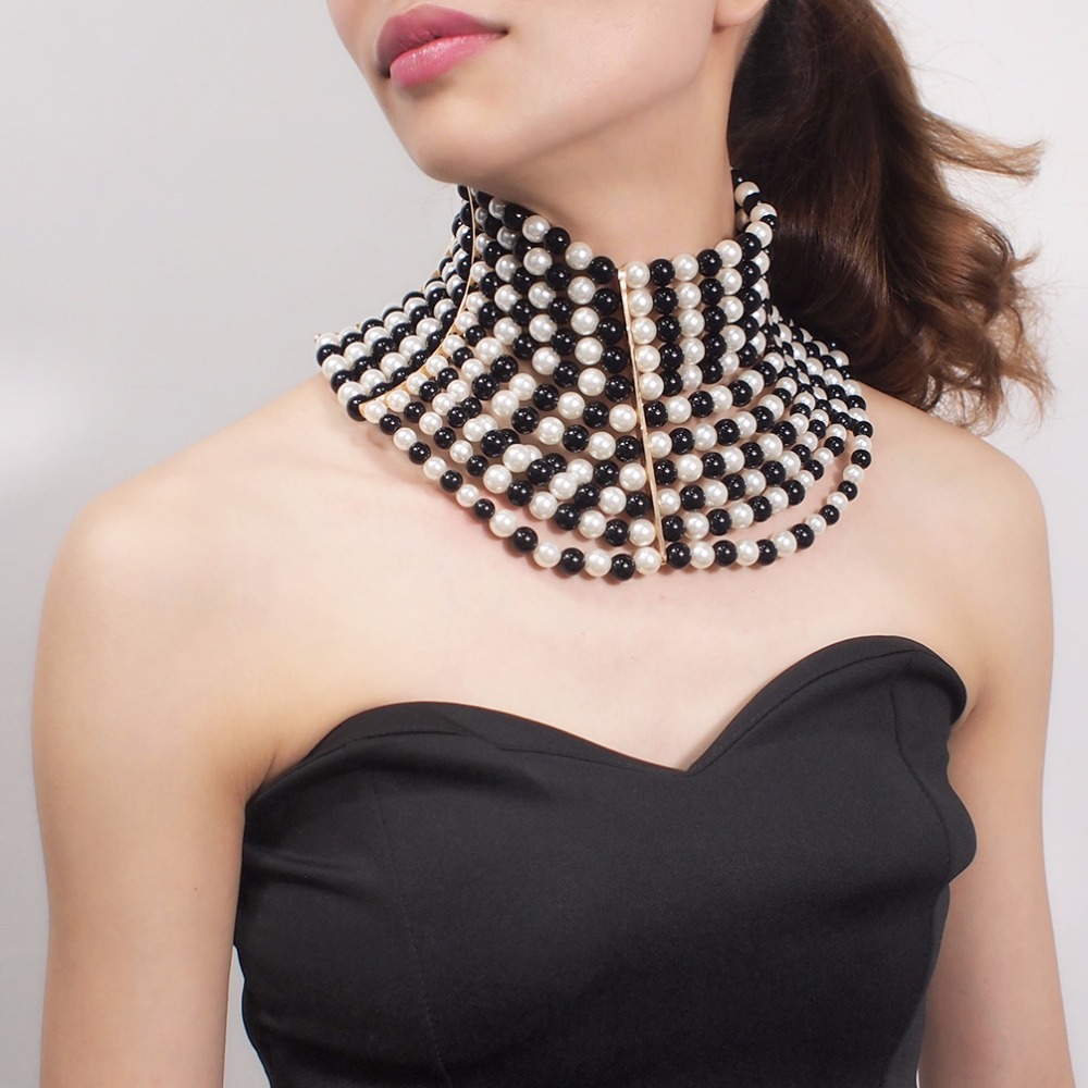 Image 3 - MANILAI Brand Imitation Pearl Statement Necklaces For Women Collar Beads Choker Necklace Wedding Dress Beaded Jewelry 2019Choker Necklaces   -