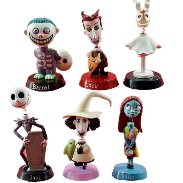 horrible nightmare before christmas figure jack skellington lock sally santa bobblehead nendoroid cartoon halloween dolls toys - Lock Nightmare Before Christmas