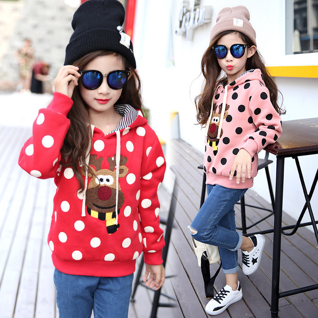 2016 Новый Детская одежда Девочек с капюшоном свитер дети свитер девочки теплая зима детей одежда 3-13 лет детская одежда розовый