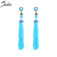 JOOLIM Blue Pink White Long Bead Tassel Dangle Earring Hot Trendy Earring Wholesale High Quality
