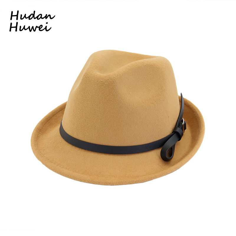Europea ee.uu. hombres mujeres Jazz sombrero Trilby con hebilla de cinturón  moda fieltro ala estrecha Caballero sombreros para unisex en Sombreros de  ... c56745010c2