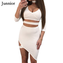 Women's Sexy Deep O-neck 3/4 Sleeve Irregular Cut Bandage Casual  Dress Solid Sexy Hollow Out Party Wear Fashion Dress цена 2017