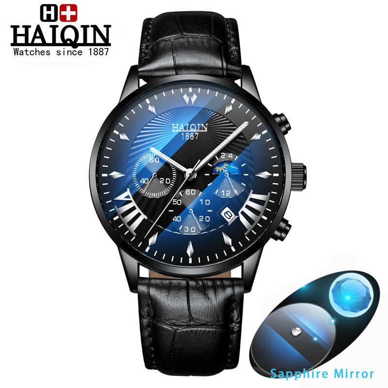 HAIQIN גברים של שעונים שעוני יד mens שעונים למעלה מותג יוקרה ספורט/Mliltary שעון גברים קוורץ שעון יד עור Reloj hombres