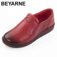BEYARNE Hot Sell Autum Women Shoes Genuine Leather Flat Shoes Comfort Pure Handmade Shoes Soft Bottom