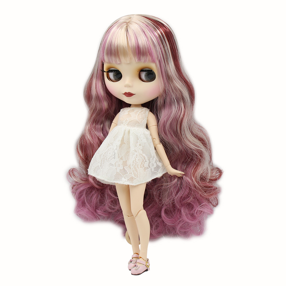 Blyth nude doll 30cm white skin New charming mixed color long curly hair 1 6 JOINT