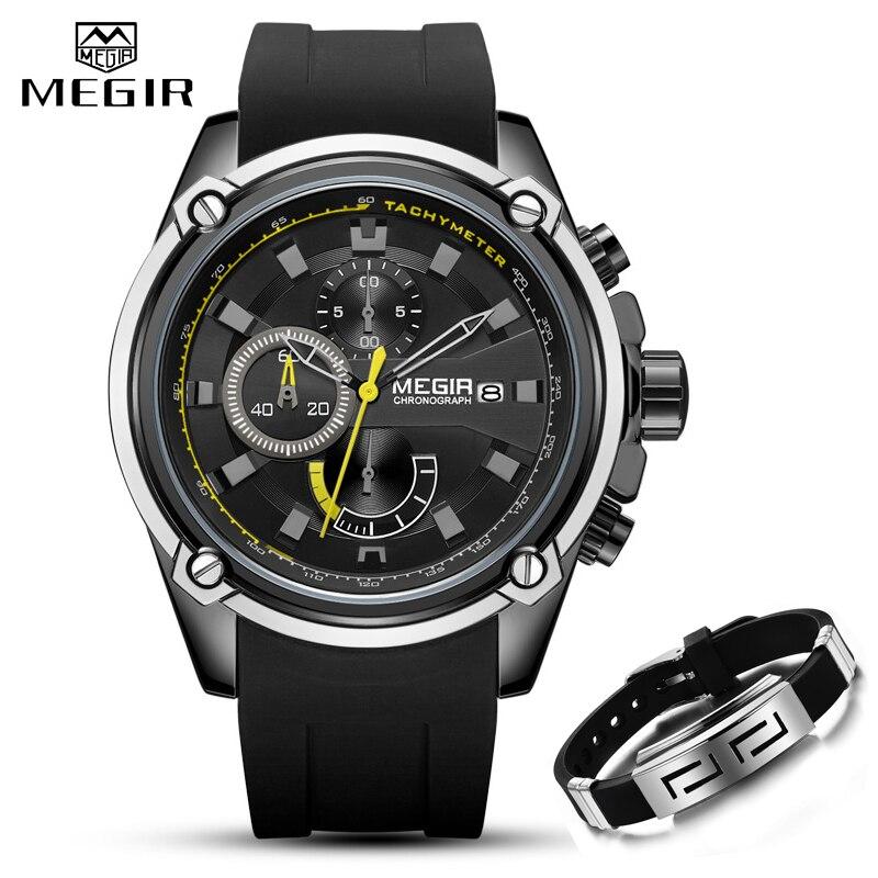 Часы MEGIR мужские, спортивные, деловые, с силиконовым ремешком, кварцевые|Спортивные часы|   | АлиЭкспресс