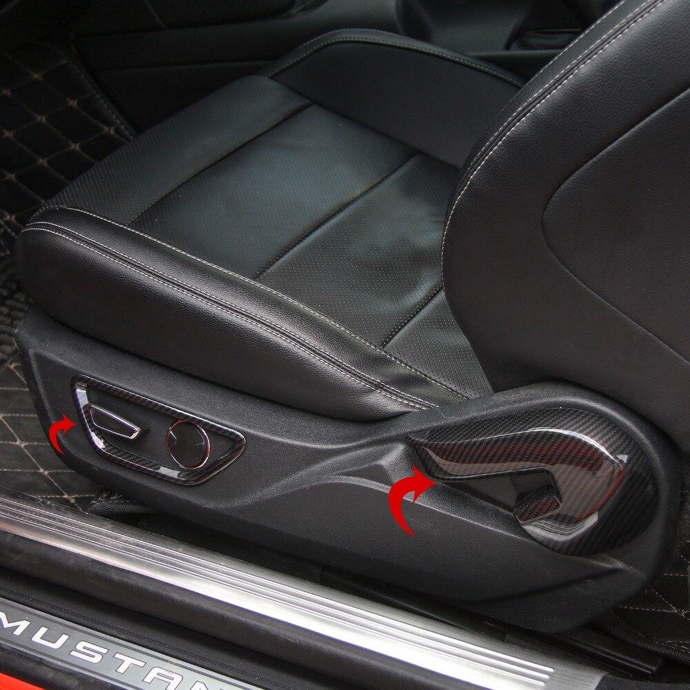 SHINEKA Fiber De Carbone ABS Intérieur Siège Régler Le Dossier Poignée Bouton commutateur Cadre Couverture Habillage pour Ford Mustang 2015 2016 2017