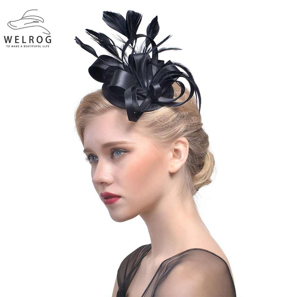 63b38382 WELROG Flower Bridal Hats Elegant Ladies Hairband Wedding Party Fedoras Fascinator  Hats Sinamay Fascinator French Veiling