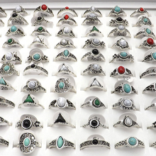 50pcs Antique Silver Color Vintage Style Rings With Mixed Stones For Women