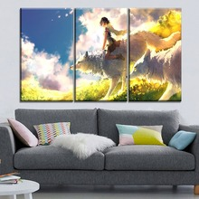 Modern Home Wall Art Decorative High Quality Canvas Print 3 Panel Movie Princess Mononoke Girl And Wolf Painting For Living Room