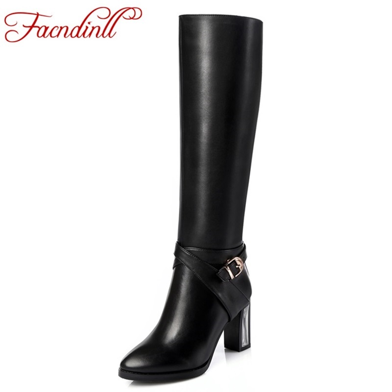 plus size new brand design fashion autumn shoes woman knee high boots women riding boots zip black thick high heels winter boots brand new fashion black yellow women knee high cowboy motorcycle boots ladies shoes high heels a 16 zip plus big size 32 43 10