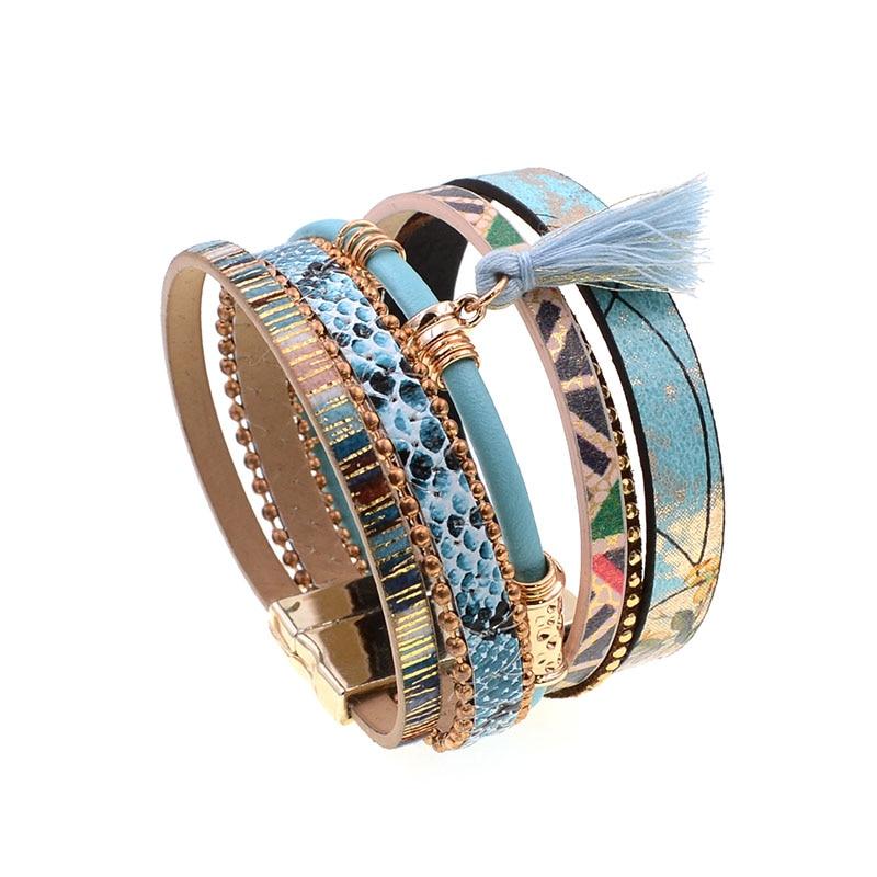 brățară din piele Albastru floare albastru snakeskin formă - Bijuterii de moda - Fotografie 3