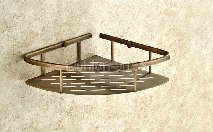 Tier glass shelf shower holder bathroom accessories corner shelves - Antique Bathroom Under Shower Set Shelf Square Brass