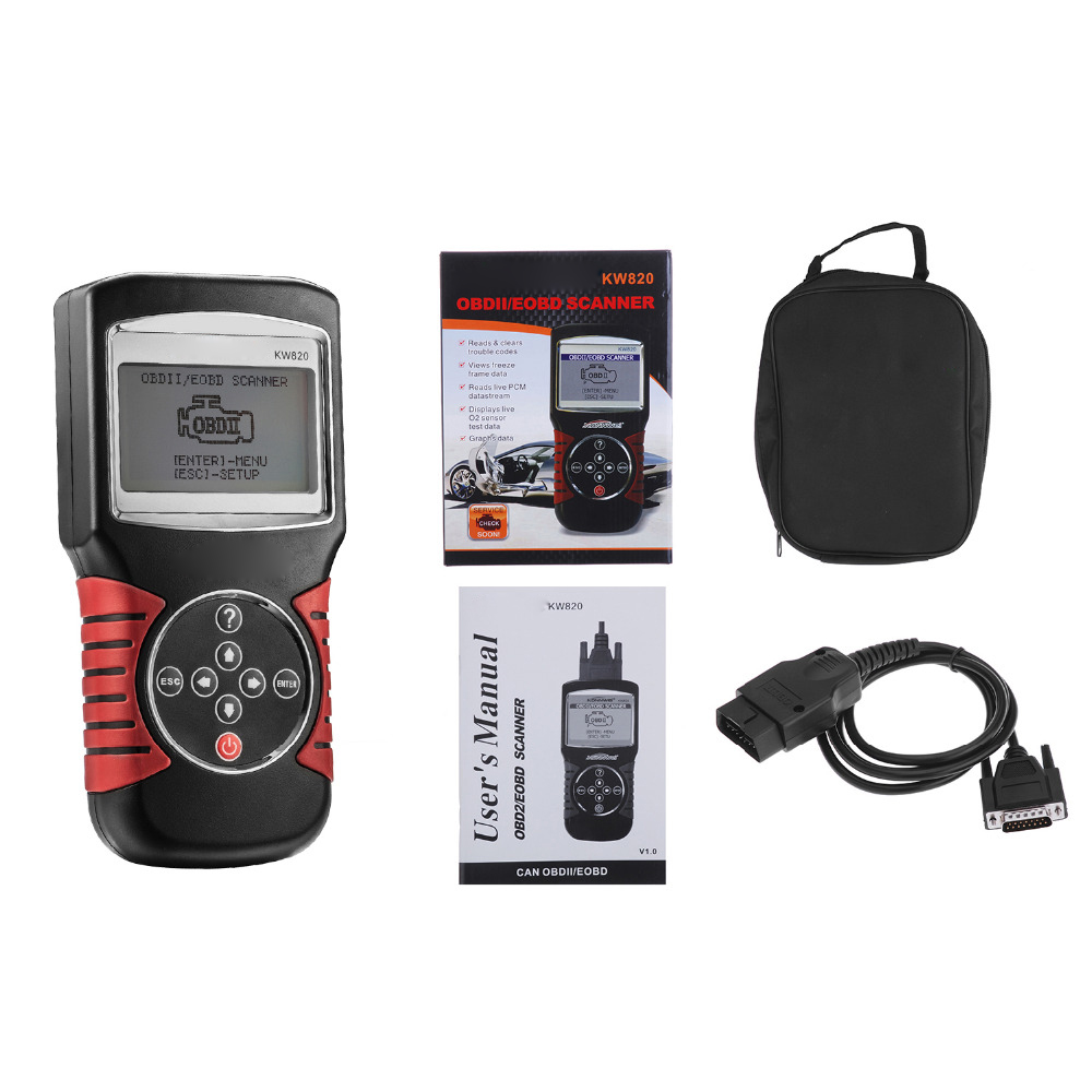 Free Shipping KW820 OBDII EOBD Automotive Errors Code Reader Scanner Diagnostic OBD2 Scan Tool Universal Auto OBD 2 Scaner newest obdmate om520 lcd obd2 eodb car diagnostic scanner obdii interface om520 obd 2 ii auto diagnostic tool scanner
