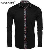 COOFANDY Free Shipping Shirts For Men Long Sleeve Print Patchwork Slim Fit Casual Button Down Shirt