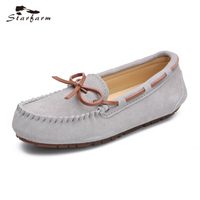 STARFARM Autumn Loafers Genuine Cow Leather Moccasins Boat Fashion Casual Women Shoes Woman Dough Shoes in tan black red grey