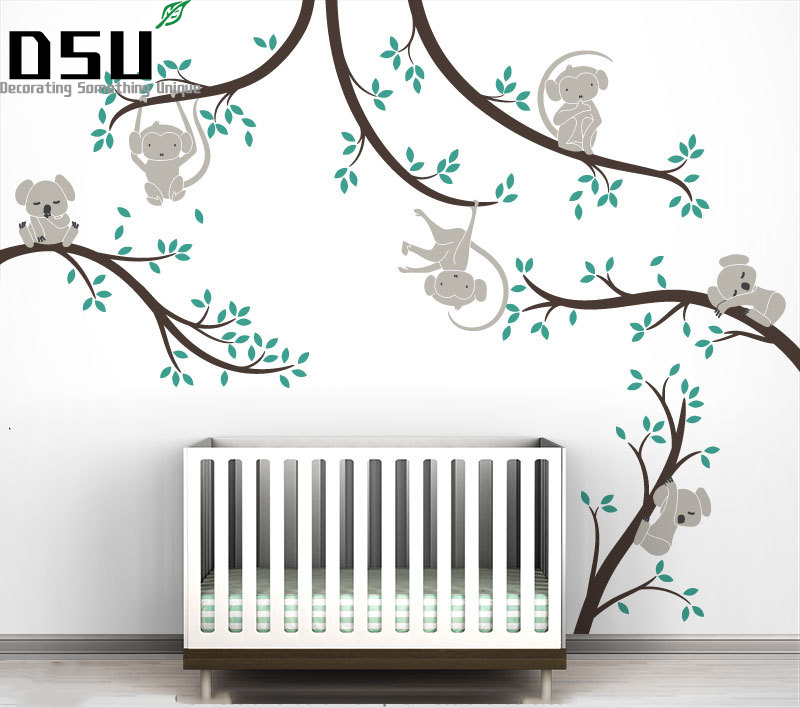 Monkey And Koala Tree Branches Wall Sticker Home Decor Nursery Nature Tree Art Mural Baby Kids Room Wall Decoration Wallpaper bohemian print wall art sticker